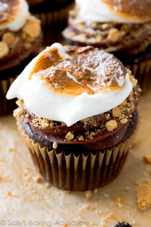 Marshmallow Filled S'mores Cupcakes - Sally's Baking Addiction