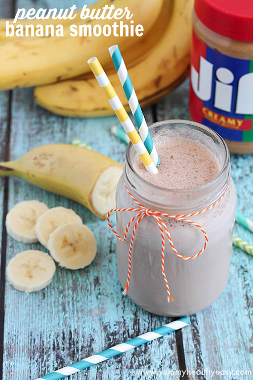 Delicious Peanut Butter Banana Smoothie by Yummy Healthy Easy