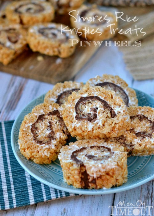 S'mores Rice Krispies Treats Pinwheels - Mom On Time Out