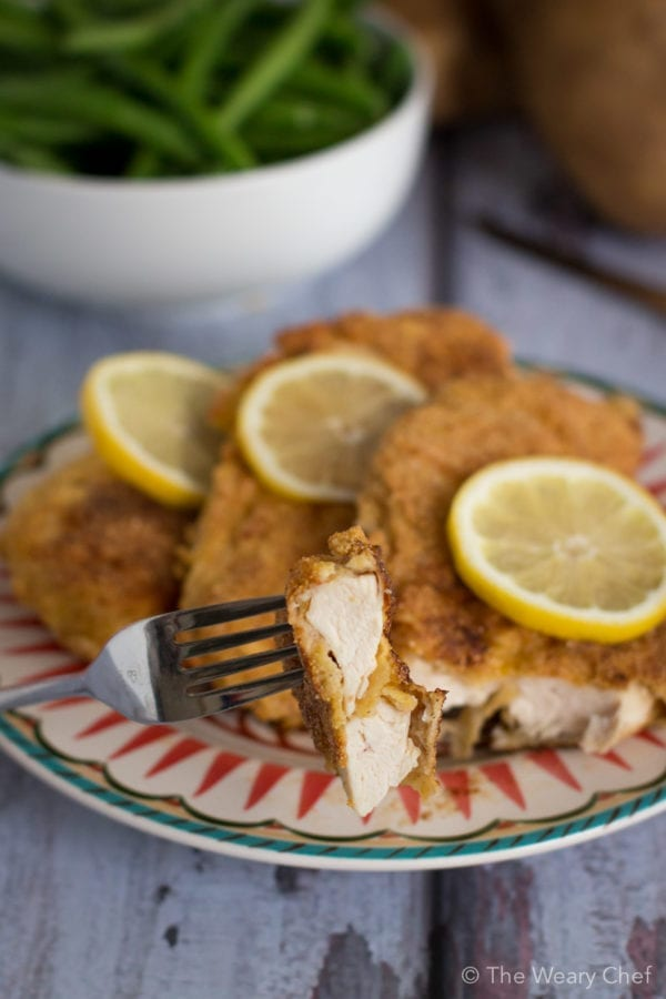 This pan fried chicken only uses a little oil and is ready in under 30 minutes!
