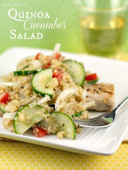 This light and flavorful salad with quinoa and cucumber is perfect over fish or chicken.