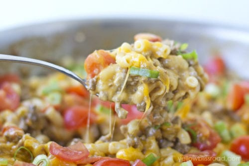 One Pan Taco Macaroni and Cheese by Yellow Bliss Road (Featured on The Weary Chef)