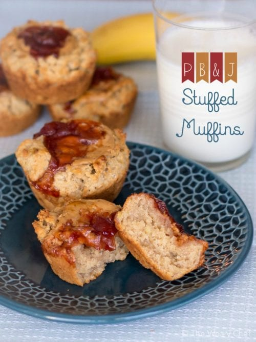 Moist peanut butter muffins are stuffed with peanut butter and jelly for a breakfast or after school treat!