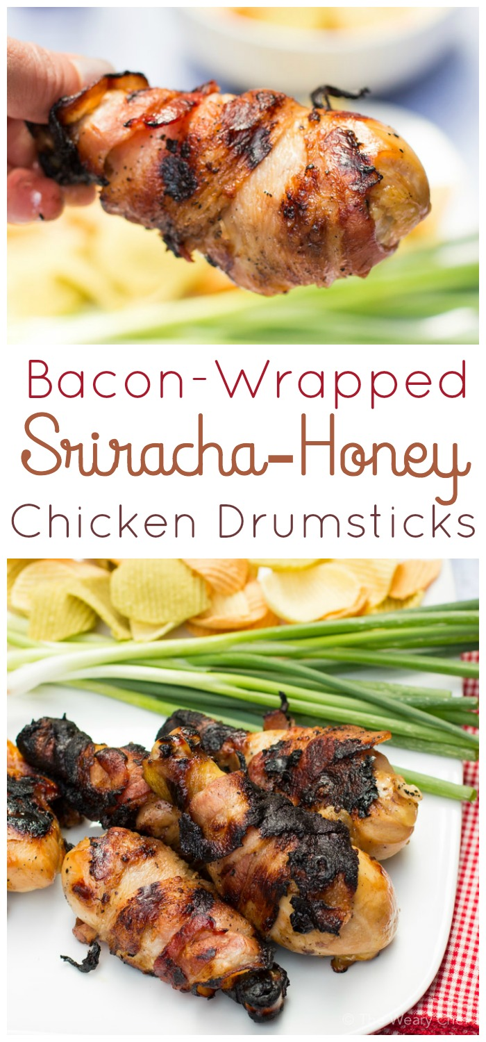 Easy bacon-wrapped grilled chicken legs are flavored with honey, soy, and Sriracha!