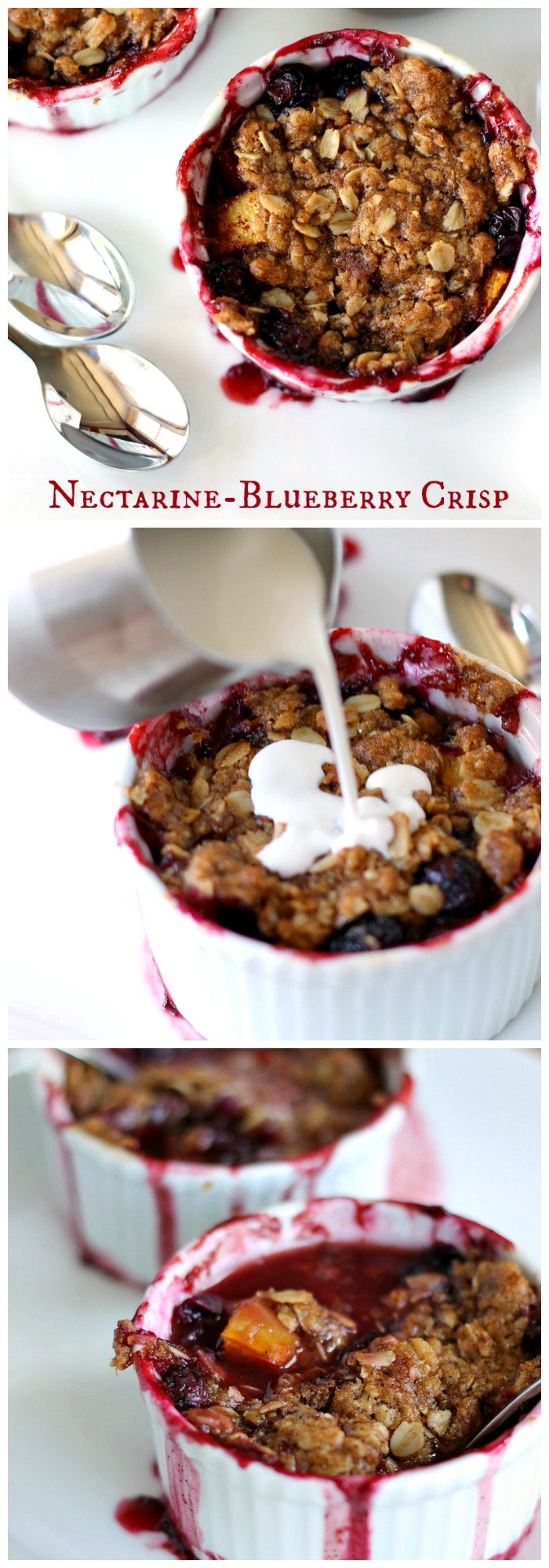Individual servings of blueberry nectarine crisp can be topped with cream at breakfast or ice cream for dessert!