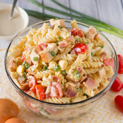 Chicken Caesar Pasta Salad with Bacon and Egg