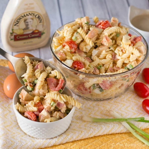 Make your day better with this Chicken Caesar Pasta Salad loaded with bacon, boiled eggs, and more!