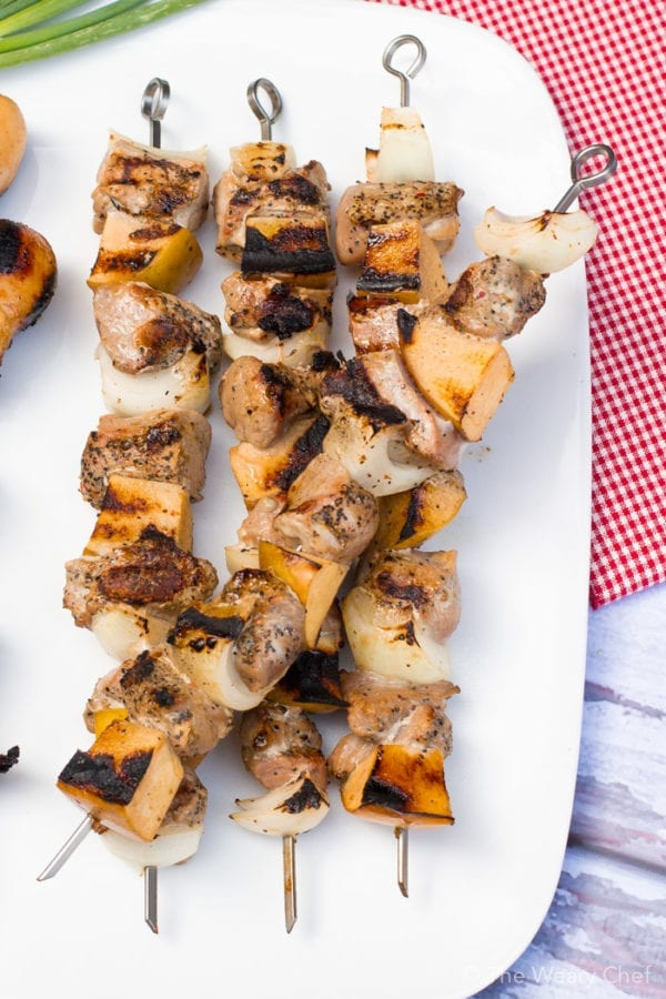 These mesquite grilled pork and apple kebabs are super easy to make thanks so pre-marinated pork by Smithfield!
