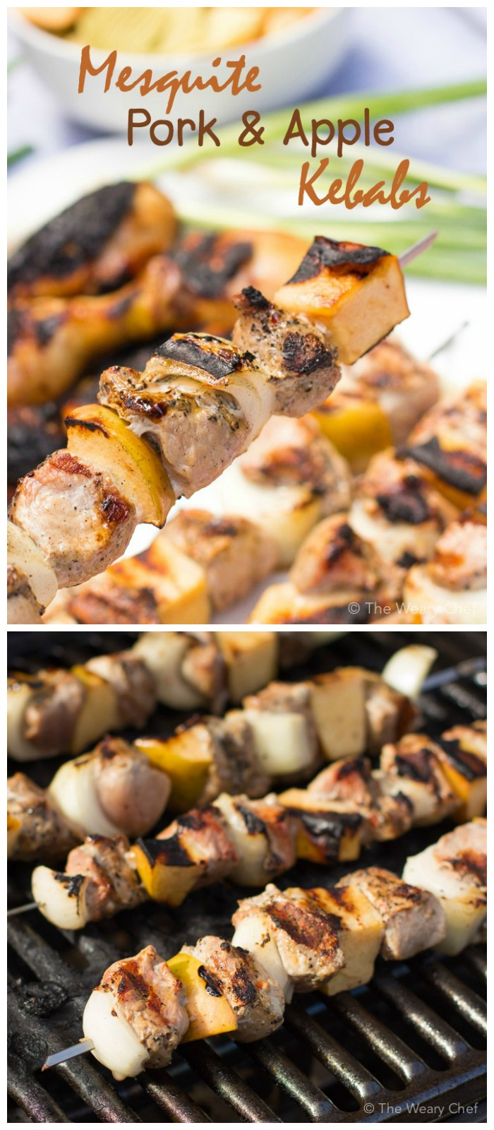 These mesquite grilled pork and apple kebabs are super easy to make thanks so pre-marinated pork.