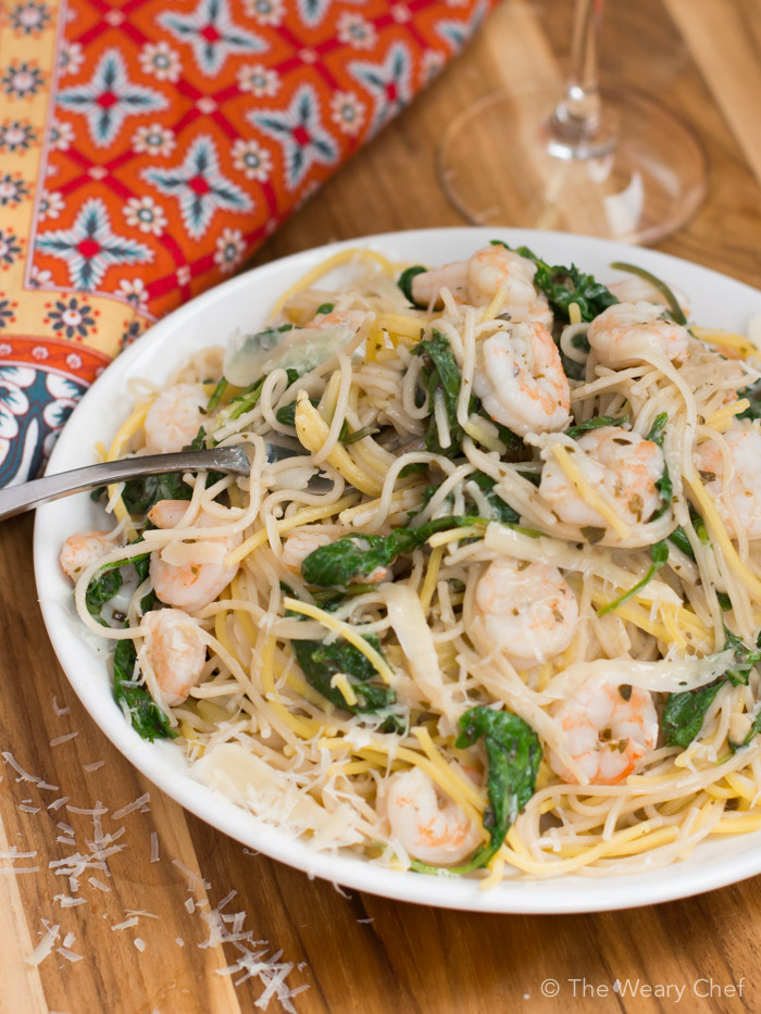 Shrimp Pasta With Pesto White Wine Sauce The Weary Chef