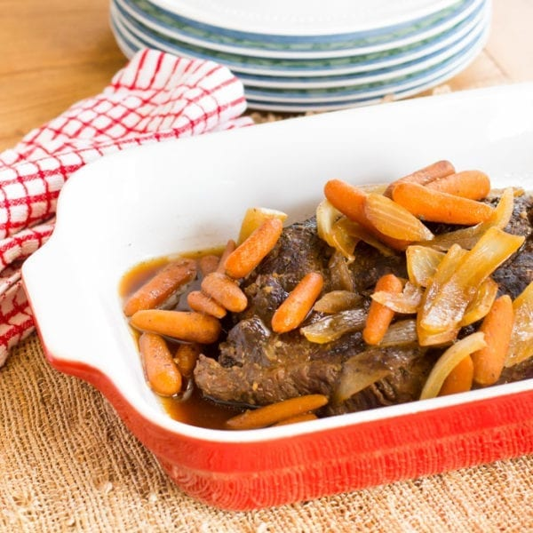 This easy slow cooker roast is quick and easy to make and has a sweet and tangy flavor thanks to molasses and vinegar!