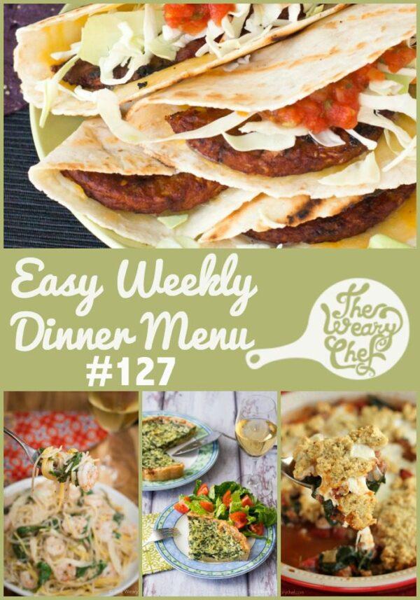 This week's easy dinner ideas include Quick Shrimp Pasta, Veggie Burger Quesadillas, Carnitas, and a quiche shortcut!
