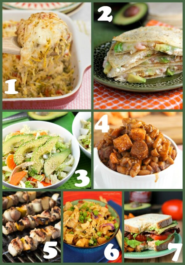 This menu of easy dinner recipes features Chicken Spaghetti Casserole, BLTA Sandwiches, The Best Franks and Beans, and lots more!