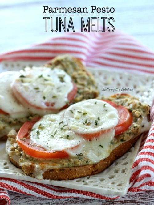 Parmesan Pesto Tuna Melts by Belle of the Kitchen (featured on The Weary Chef)