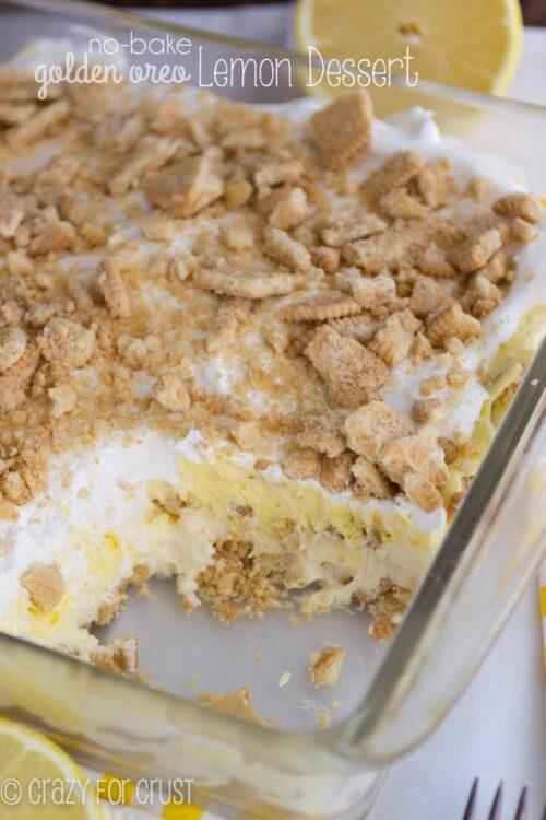No-Bake Golden Oreo Lemon Dessert - Crazy For Crust