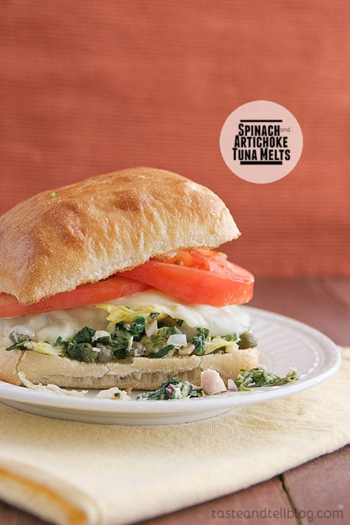 Spinach and Artichoke Tuna Melts by Taste and Tell (Featured on The Weary Chef)