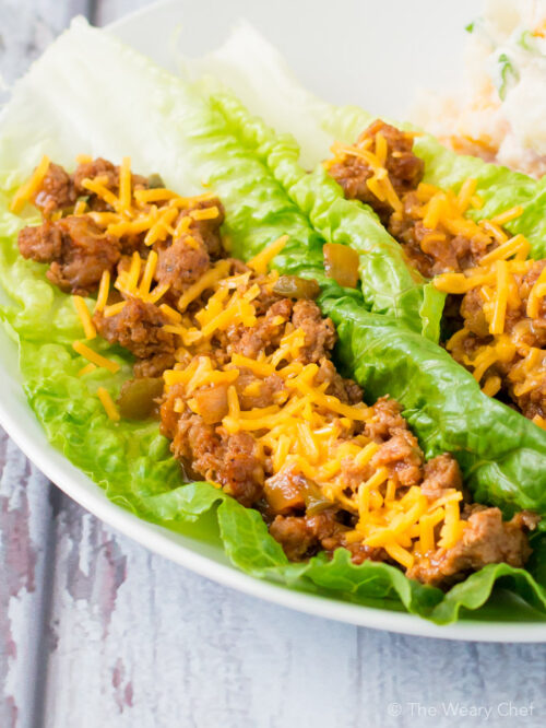These turkey lettuce wraps with BBQ sauce are a quick and easy dinner that is fun to eat and healthy too!