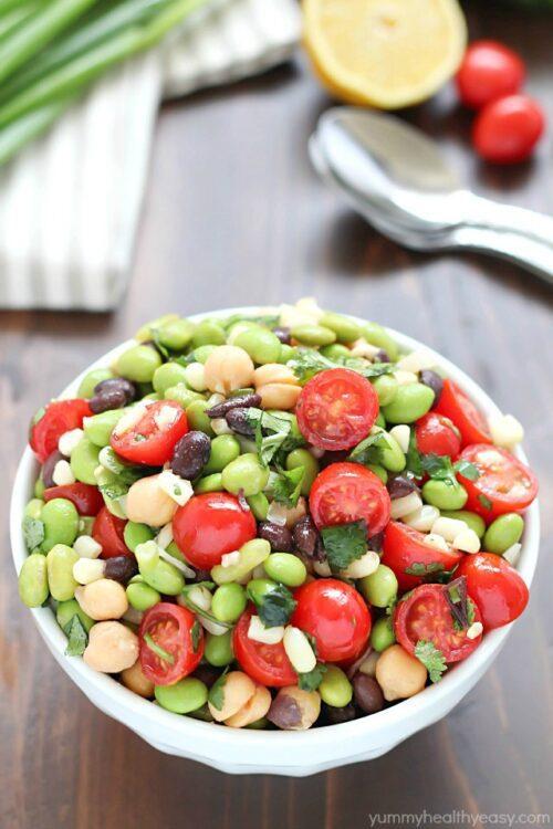 Southwest Edamame Salad by Yummy Healthy Easy