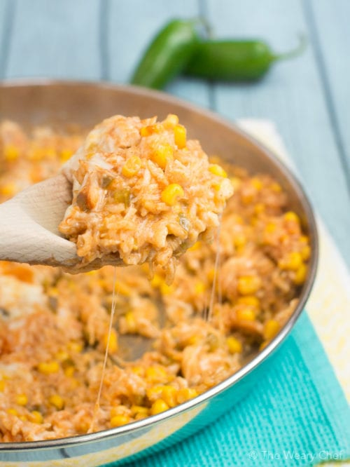Keep your pantry stocked with all the ingredients you need for this delicious and easy chicken enchilada rice dinner!