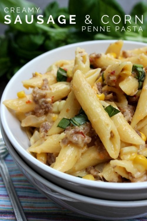 Creamy Sausage and Corn Penne Pasta by Dash of Savory