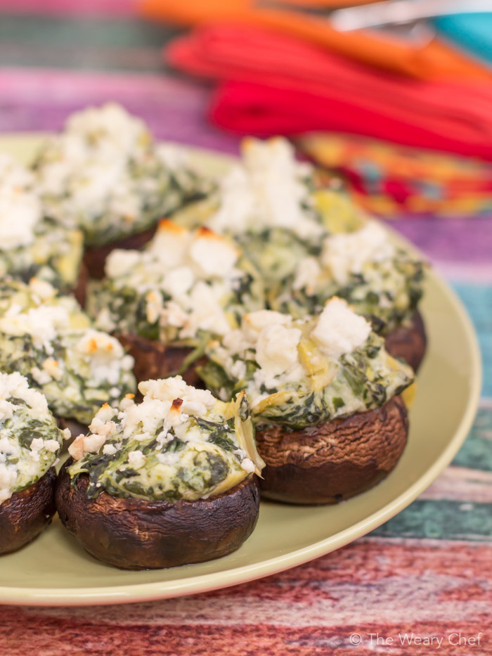 Artichoke Spinach Dip Stuffed Mushrooms | The Weary Chef
