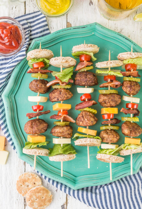 Bacon Cheeseburger Kebabs by The Cookie Rookie