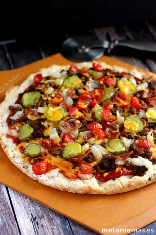 Bacon Double Cheeseburger Pizza by Melanie Makes (featured on The Weary Chef)
