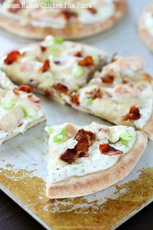 Bacon Ranch Chicken Pita Pizza by Yummy Healthy Easy