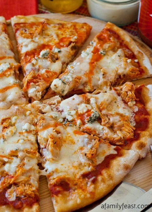 Buffalo Chicken Pizza by A Family Feast (featured on The Weary Chef)