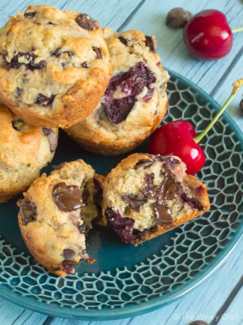 Chocolate Cherry Muffins by The Weary Chef