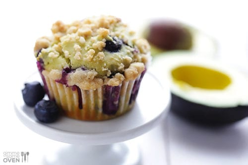 Blueberry Avocado Muffins by Gimme Some Oven