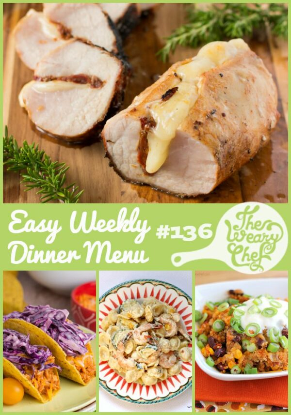BBQ Chicken Tacos, Easy Steak Marinade, Taco Quinoa Skillet, and lots more easy dinner recipes are included in today's menu!