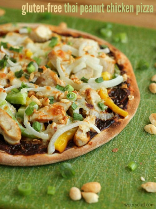 Gluten-Free Thai Peanut Chicken Pizza by The Weary Chef