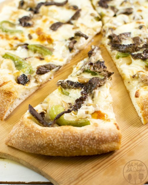 Philly Cheesesteak Pizza by Like Mother Like Daughter (featured on The Weary Chef)