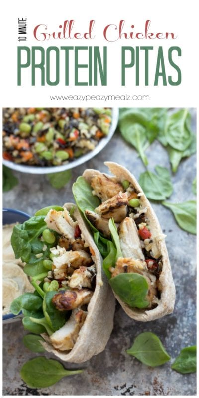 10 Minute Grilled Chicken Protein Pitas by Eazy Peazy Mealz