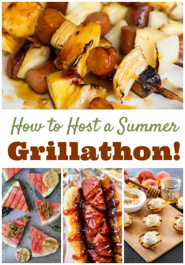 Get a dozen great recipes for hosting your own grillathon! Find everything from taco dogs to grilled dessert pizza in this fun roundup.