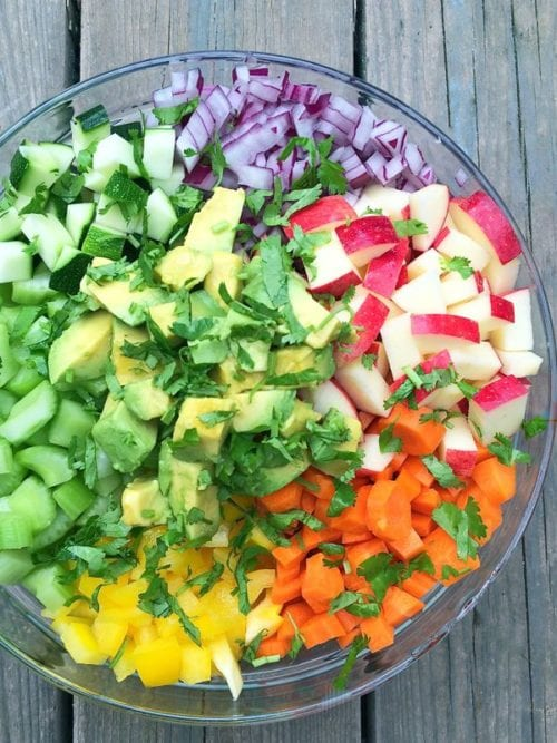 Rainbow Chopped Salad with Apples and Avocados by The Lemon Bowl