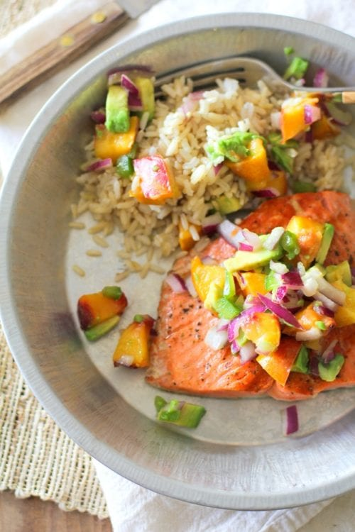 Grilled Salmon with Grilled Peach and Avocado Salsa by The Roasted Root