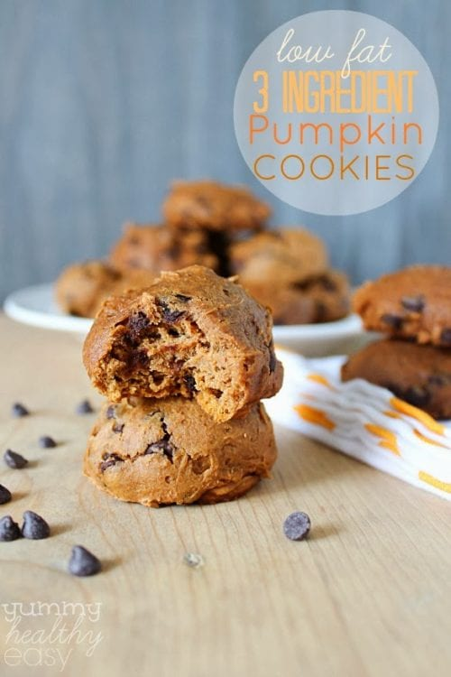 Low Fat 3-Ingredient Pumpkin Chocolate Cookies by Yummy Healthy Easy