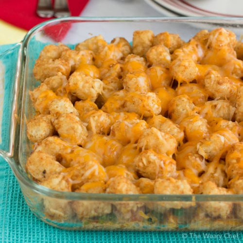 Chicken Tatertot Casserole: This one-dish dinner is so simple to mix up and put in the oven, and the whole family will love it!