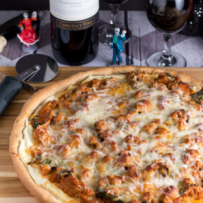 Sausage Lasagna Pizza with Casillero del Diablo Wine!