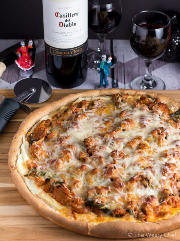 Does it get any better than red wine and pizza? This lasagna pizza paired with Casillero del Diablo (sponsor) is PERFECT for a Halloween night to remember.