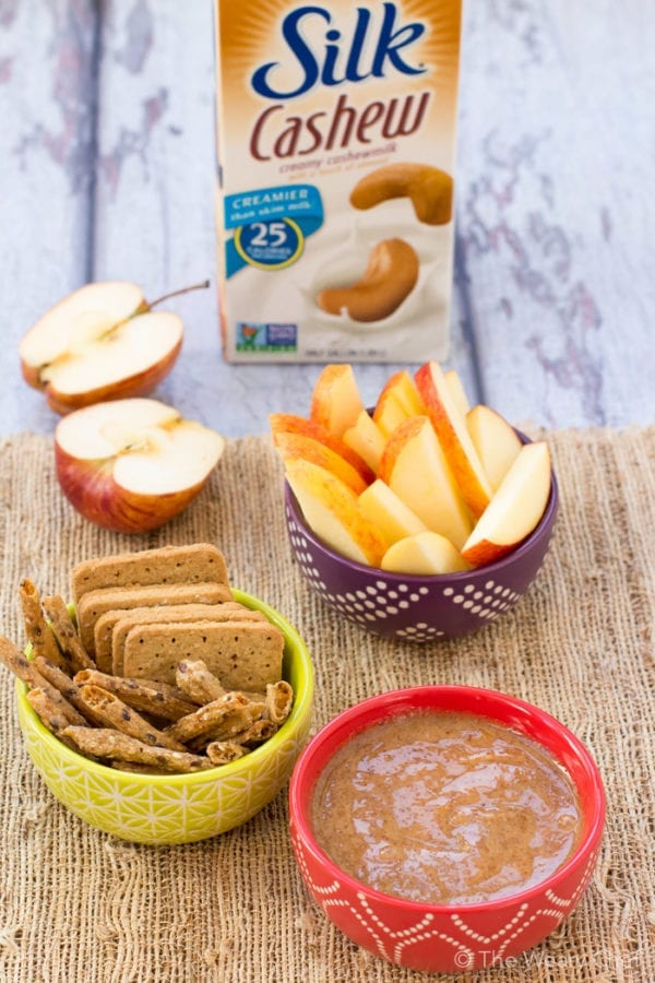 This quick and easy maple almond dip is just right for Fall, and it's vegan too!