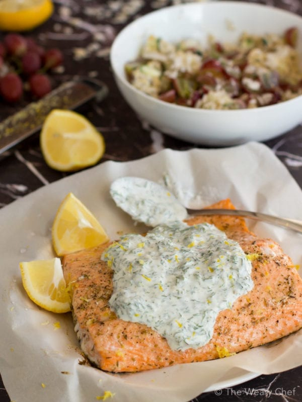 Baked Salmon with Herbed Yogurt Sauce - The Weary Chef