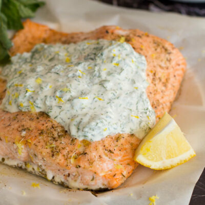 Baked Salmon with Herbed Yogurt Sauce