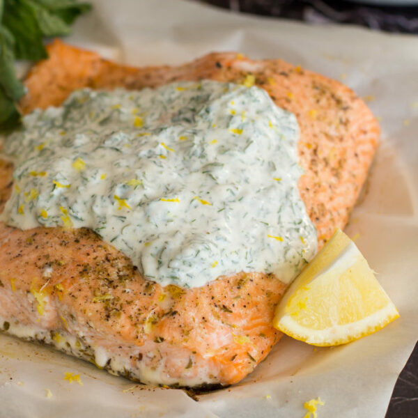 This elegant roasted salmon topped with herbed yogurt is very simple to prepare!