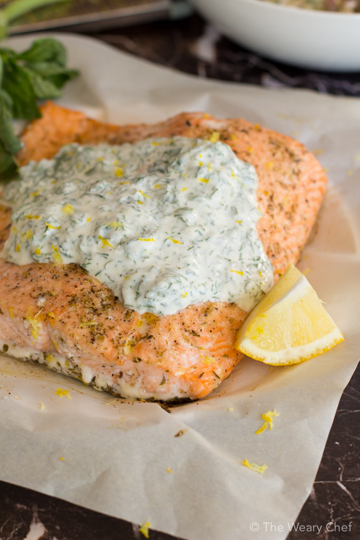 Baked Salmon with Herbed Yogurt Sauce | The Weary Chef