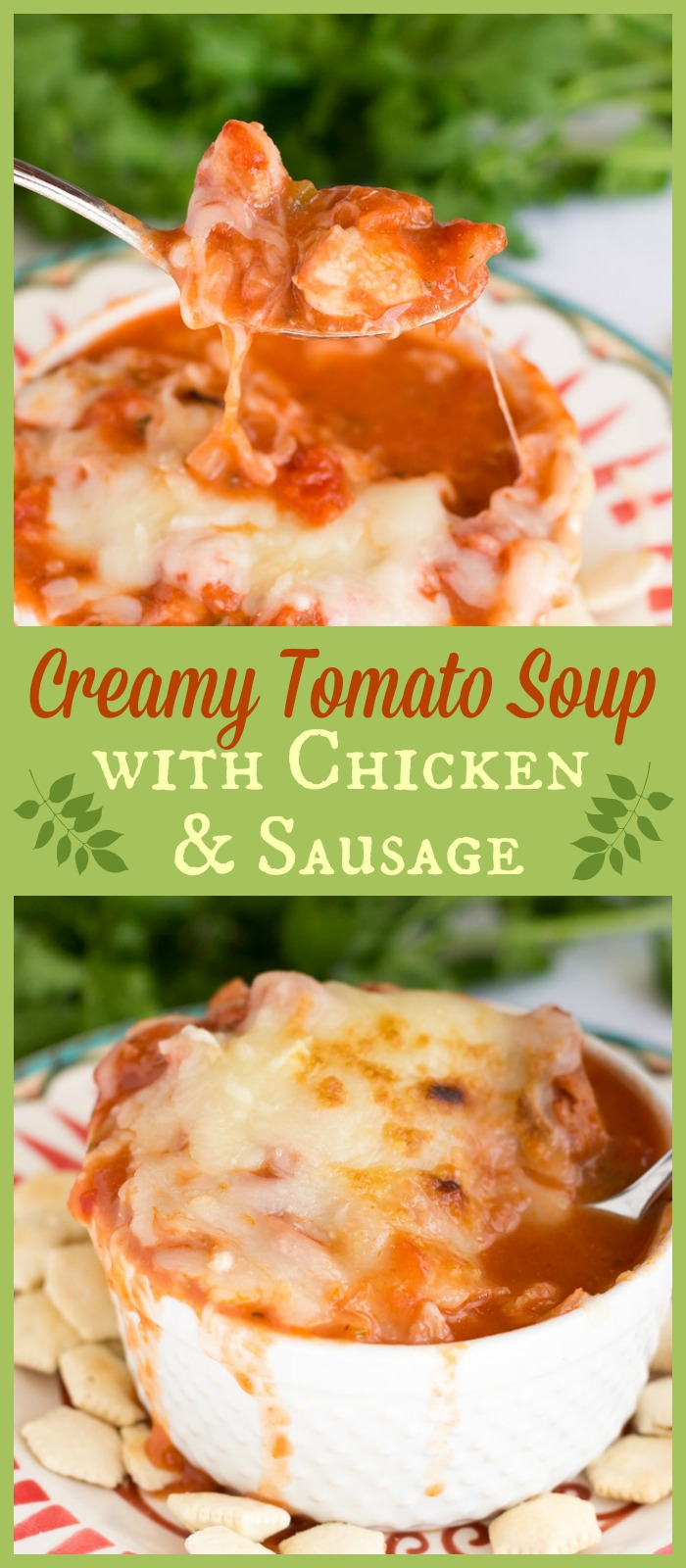 This hearty, satisfying creamy tomato soup is loaded with vegetables, tender chicken, and flavorful sausage. Perfect dinner for a cold night!