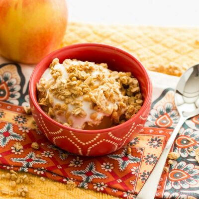 Microwave Baked Apple with Yogurt and Granola
