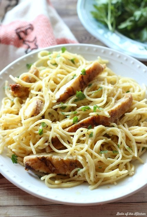 One-Pot Cheesy Garlic Chicken Spaghetti by Belle of the Kitchen